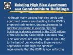 existing high rise apartment and condominium buildings