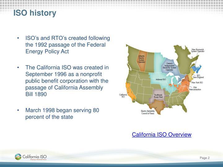 ISO history