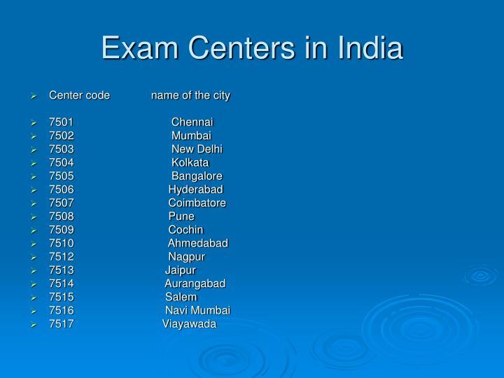 Exam Centers in India