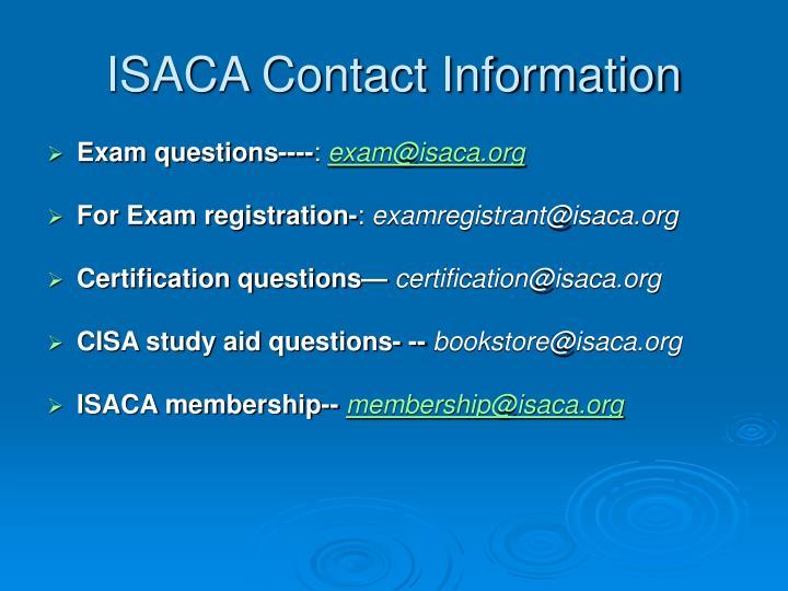 ISACA Contact Information