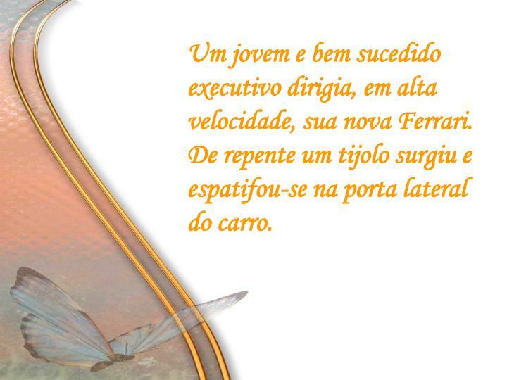 Um jovem e bem sucedido executivo dirigia, em alta velocidade, sua nova Ferrari.