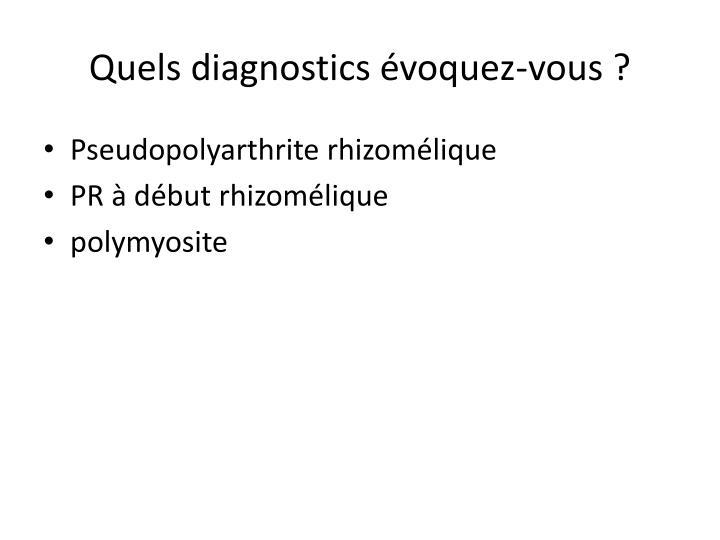 Quels diagnostics évoquez-vous ?