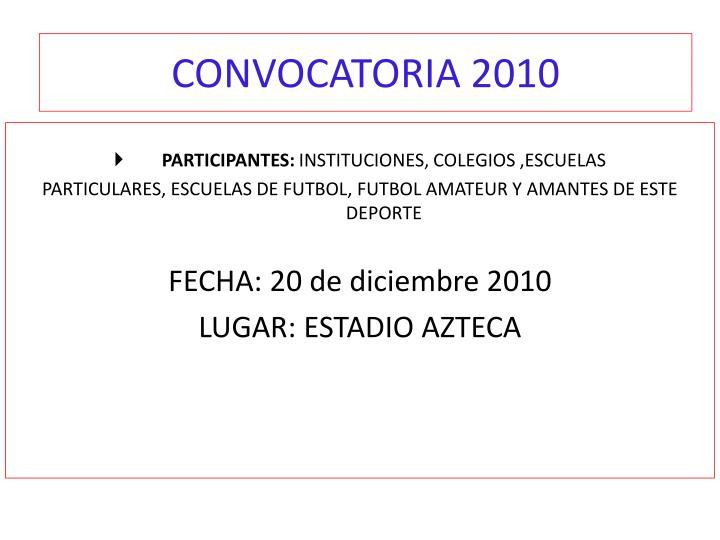 CONVOCATORIA 2010