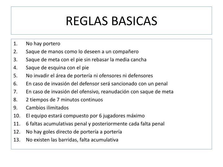REGLAS BASICAS