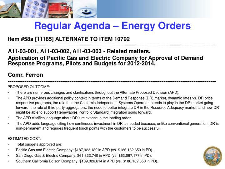 Regular Agenda – Energy Orders