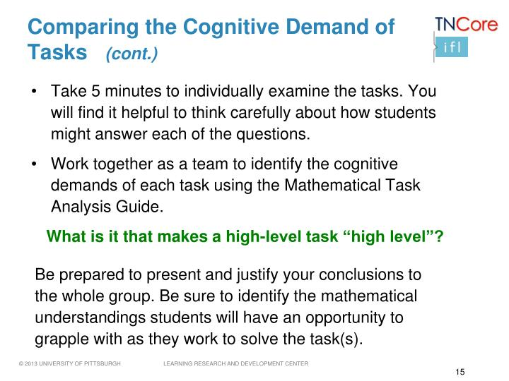 Comparing the Cognitive Demand of Tasks