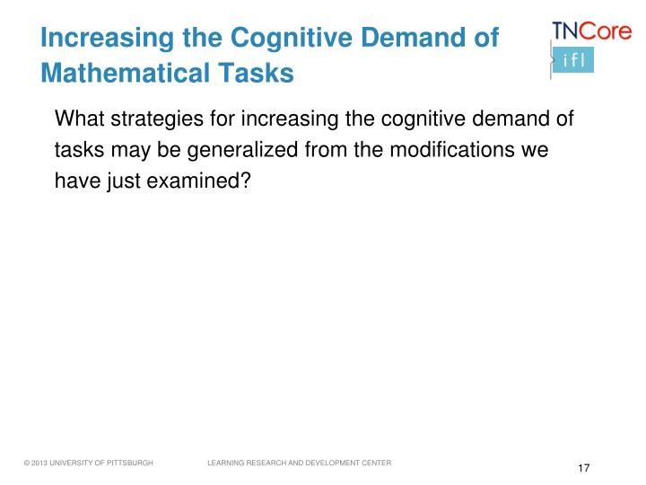 Increasing the Cognitive Demand of Mathematical Tasks