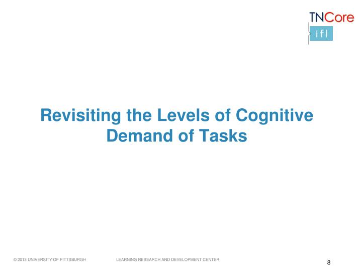 Revisiting the Levels of Cognitive Demand of Tasks