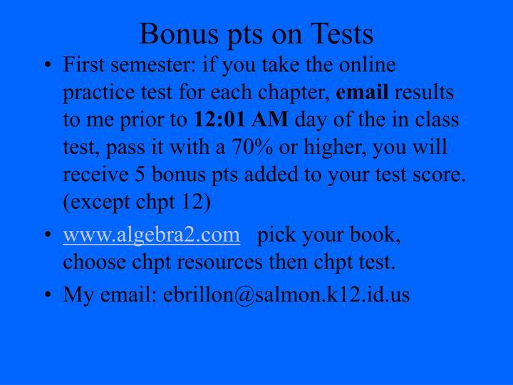 Bonus pts on Tests