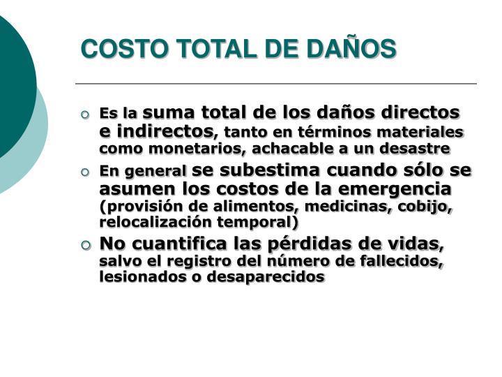 COSTO TOTAL DE DAÑOS