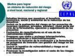 medios para lograr un sistema de reducci n del riesgo a nivel local nacional y regional