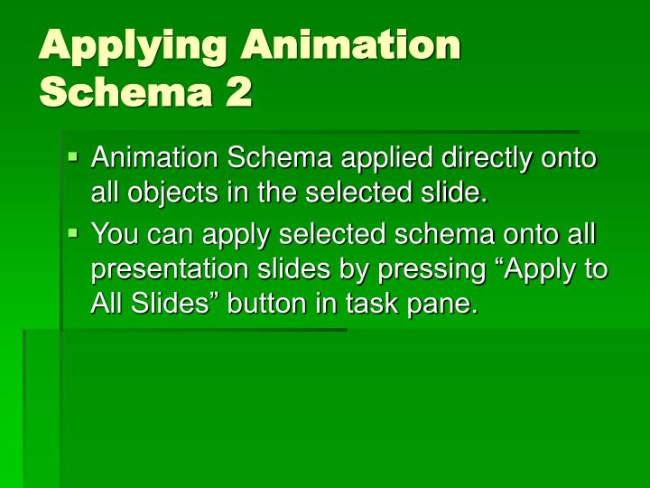 Applying Animation Schema 2