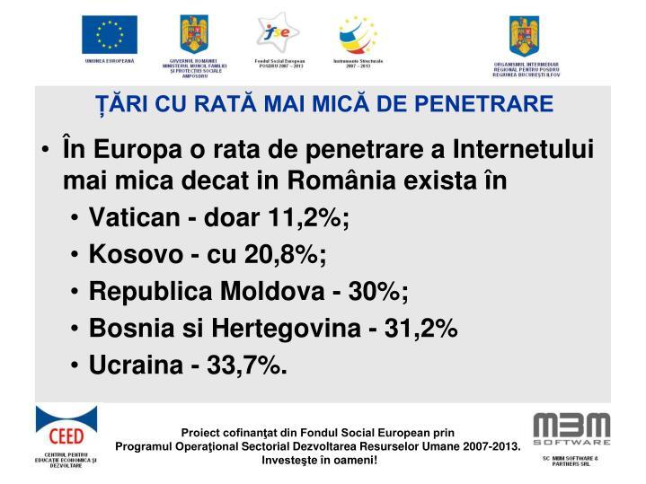 Țări cu rată mai mică de penetrare