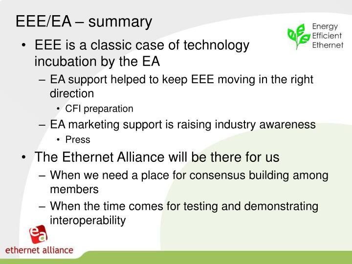EEE/EA – summary