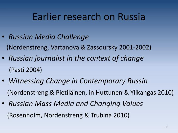 Earlier research on Russia