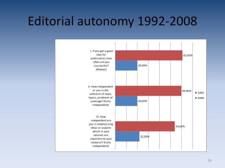 Editorial autonomy 1992-2008