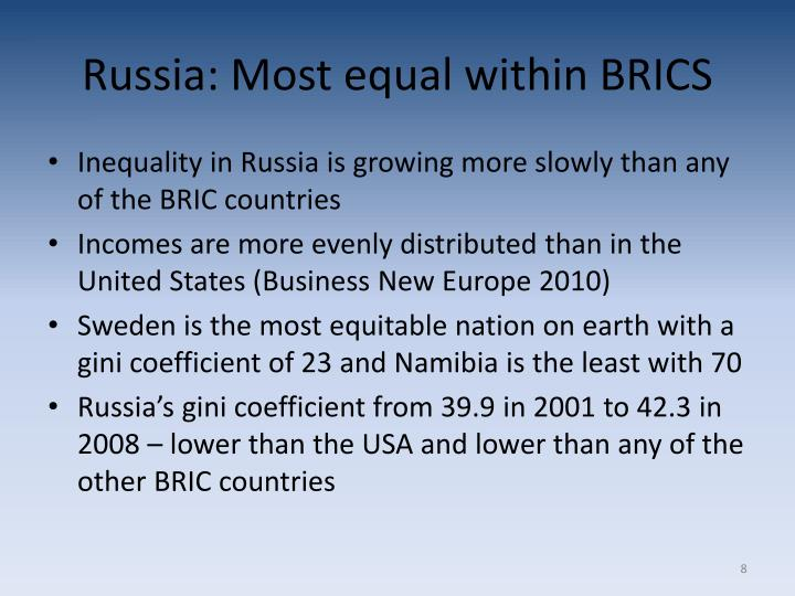Russia: Most equal within BRICS