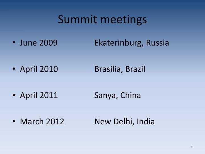 Summit meetings