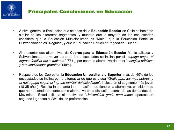 Principales Conclusiones en Educación