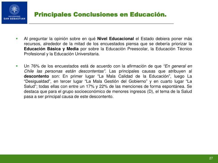 Principales Conclusiones en Educación.