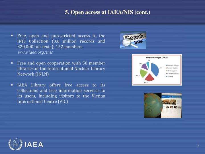 5. Open access at IAEA/NIS (cont.)