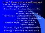 lesson 5 international investment management