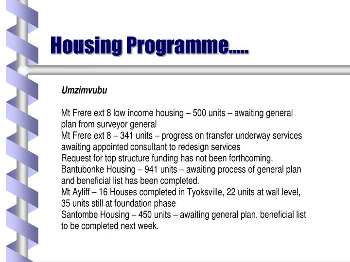 Housing Programme…..