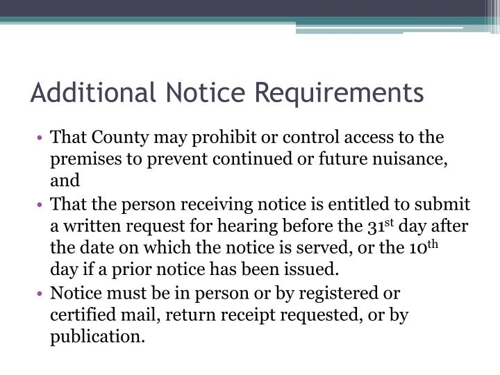 Additional Notice Requirements