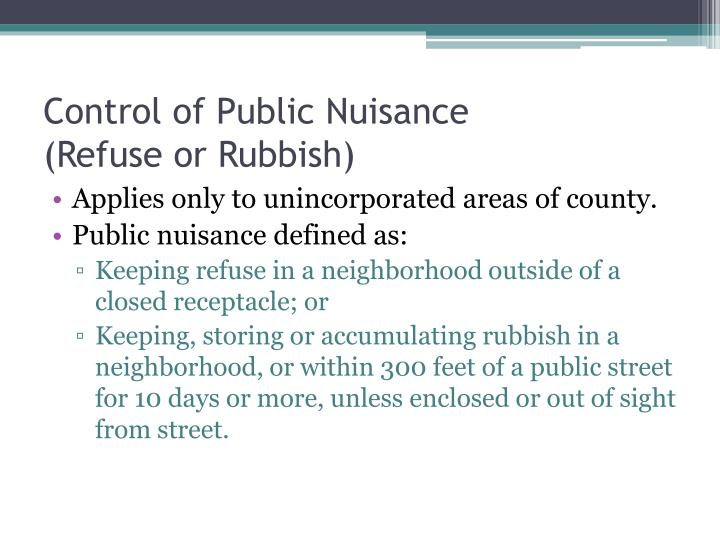 Control of Public Nuisance