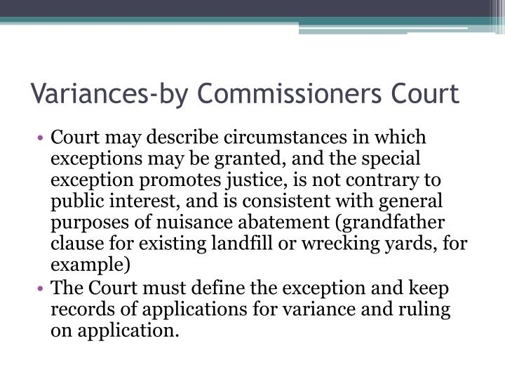 Variances-by Commissioners Court