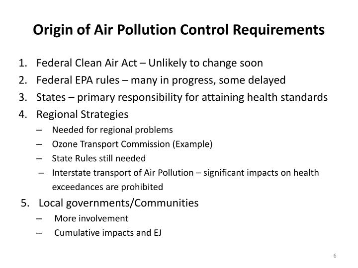 Origin of Air Pollution Control Requirements