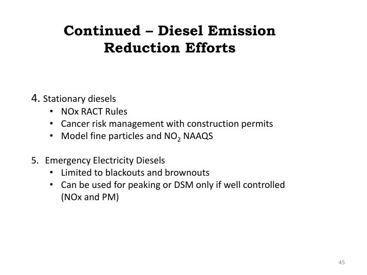 Continued – Diesel Emission Reduction Efforts