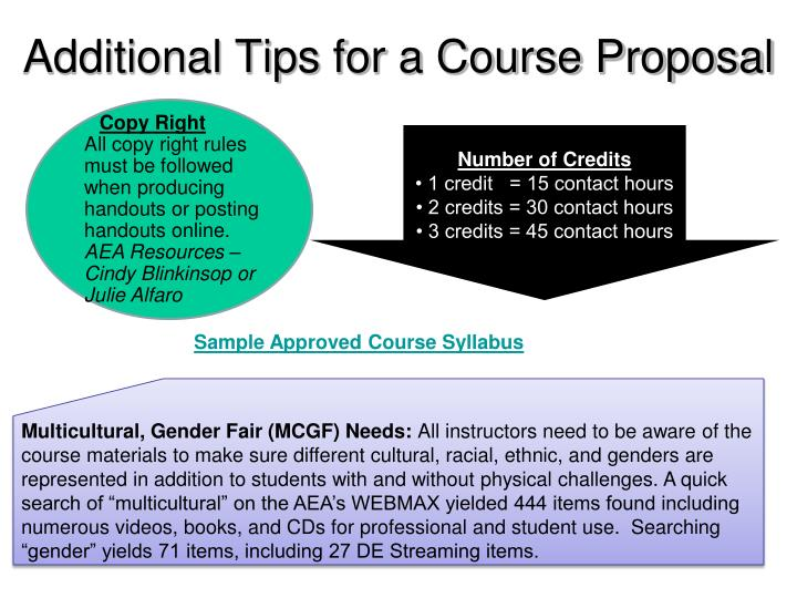 Additional Tips for a Course Proposal