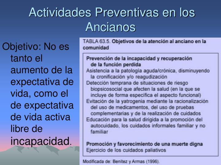Actividades Preventivas en los Ancianos
