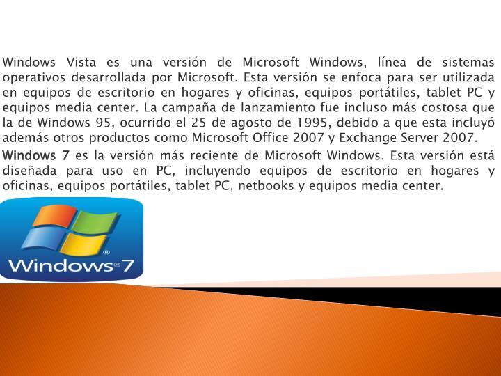 Windows Vista es una versión de Microsoft Windows, línea de sistemas operativos desarrollada por Microsoft. Esta versión se enfoca para ser utilizada en equipos de escritorio en hogares y oficinas, equipos portátiles,