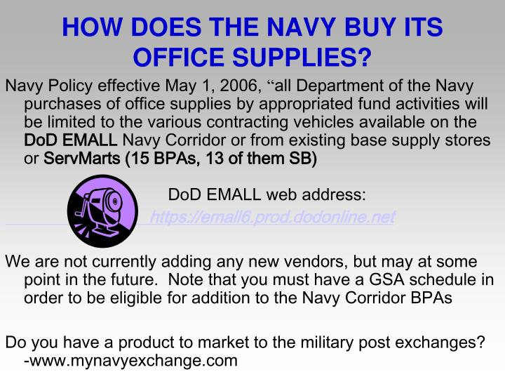 HOW DOES THE NAVY BUY ITS OFFICE SUPPLIES?