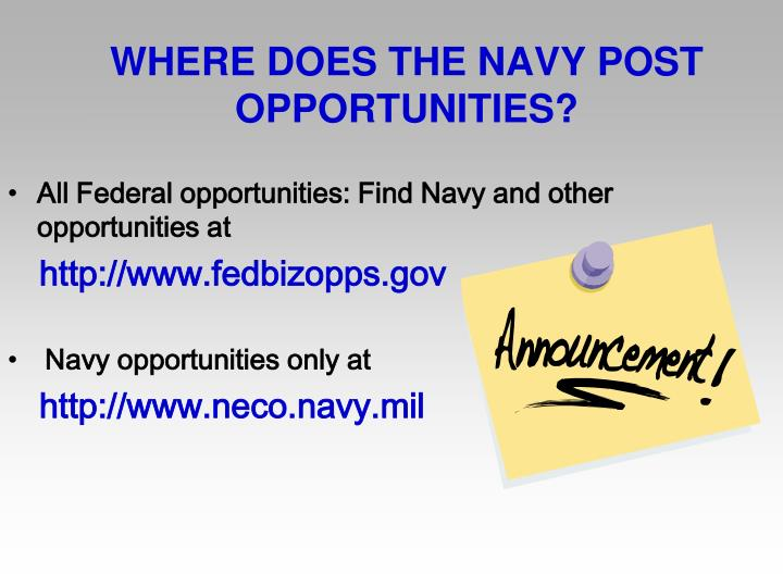 WHERE DOES THE NAVY POST OPPORTUNITIES?