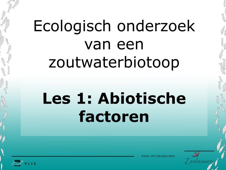 Ecologisch onderzoek van een zoutwaterbiotoop