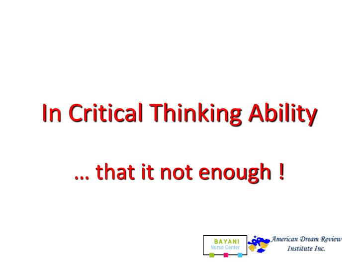In Critical Thinking Ability