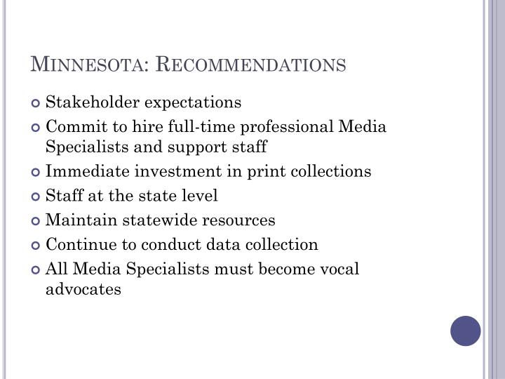 Minnesota: Recommendations