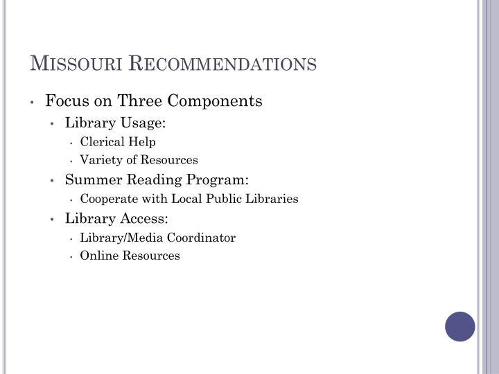 Missouri Recommendations
