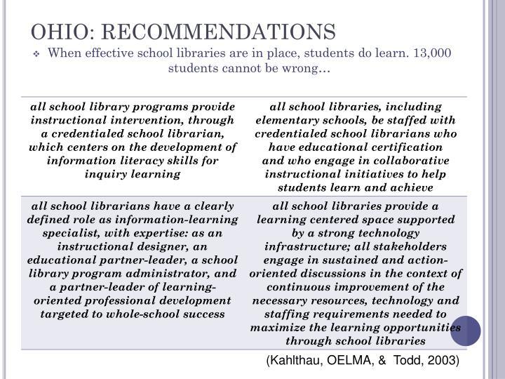 OHIO: RECOMMENDATIONS