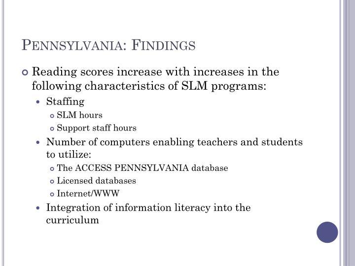 Pennsylvania: Findings