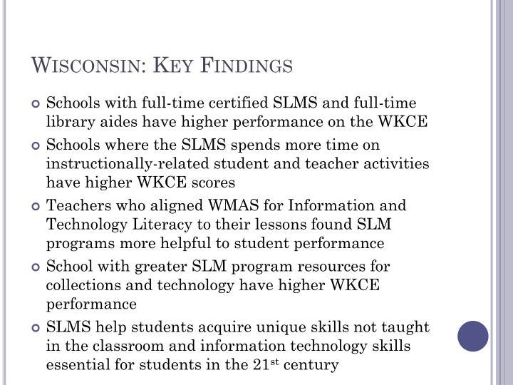 Wisconsin: Key Findings