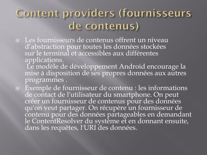 Content providers (fournisseurs de contenus)