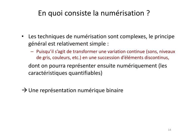 En quoi consiste la numérisation ?