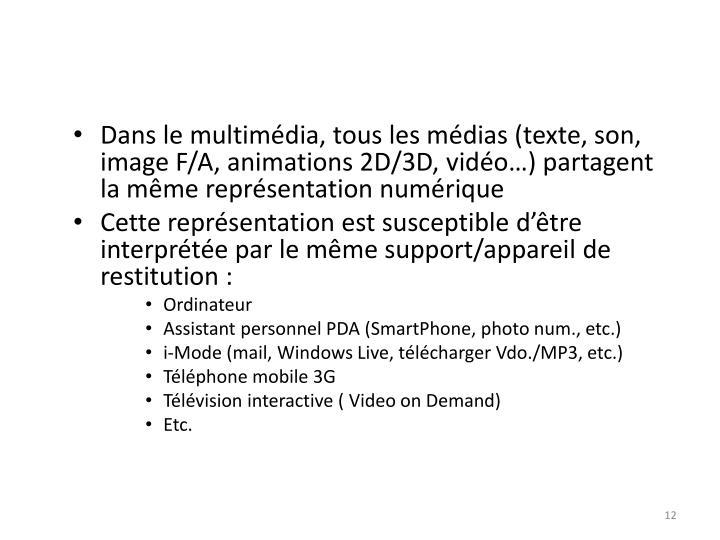 Dans le multimédia, tous les médias (texte, son, image F/A, animations 2D/3D, vidéo…) partagent la même représentation numérique