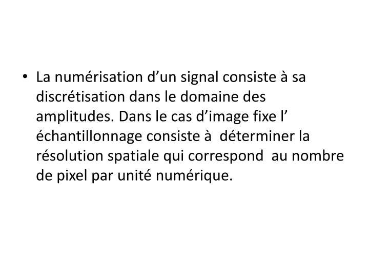 La numérisation d'un signal consiste à sa discrétisation dans le domaine des amplitudes. Dans le cas d'image fixe l' échantillonnage consiste à  déterminer la résolution spatiale qui correspond  au nombre de pixel par unité numérique.