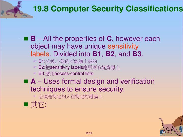 19.8 Computer Security Classifications