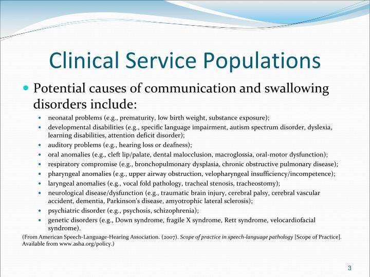 Clinical service populations